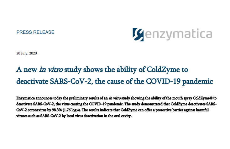 A new in vitro study shows the ability of ColdZyme to deactivate SARS-CoV-2, the cause of the COVID-19 pandemic